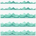 Blue Waves Sea Ocean Vector Illustration Abstract Pattern Background Colorful Wallpaper Water Collection Set