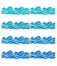 Blue Waves Sea Ocean Vector Illustration Abstract Pattern Background Colorful Wallpaper Water Set