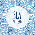 Blue waves vector repeating background. Doodle sea pattern. For textile or packaging design Royalty Free Stock Photo