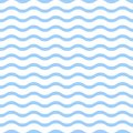 Blue waves on white background seamless pattern.