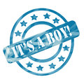 Blue weathered it s a boy stamp circles and stars ink roughed up design with the word on making great baby concept Royalty Free Stock Image
