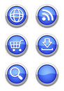 Blue web icons Stock Photos
