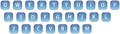 Blue web icons keyboard the of characters Royalty Free Stock Image