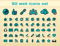 Blue web icons set of for browsing media and communication Stock Photo