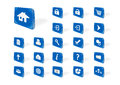 Blue web icons some in perspective with drop shadow Royalty Free Stock Images