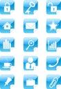 Blue web icons stickers set Royalty Free Stock Photo