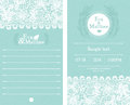 Blue wedding invitations with white lace Stock Photo