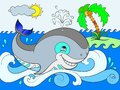 Blue whale on a background of ocean color for children cartoon illustration.