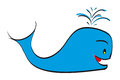 Blue whale hand drawn happy and smiling Stock Photos