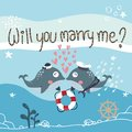 Blue whale Marine couple said `Will you marry me`