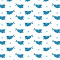 Blue whale pattern scattered with circles water bubble abstract