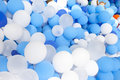 Blue and white balloon collection background of Royalty Free Stock Photos