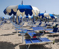 Blue and White Beach Umbrellas Royalty Free Stock Photos