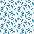 Blue and white cat, paw prints, fish, and hearts seamless and r Royalty Free Stock Photo