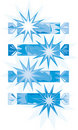 Blue-white christmas crackers (vector) Stock Photos