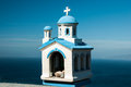 Blue white church model santorini a of in and in greece Royalty Free Stock Photography