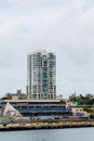 Blue and white condo in san juan a modern tower on the coast of puerto rico Stock Photography