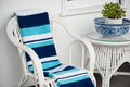 Blue and white crochet throw Royalty Free Stock Photo