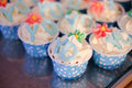 Blue and white cupcake
