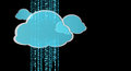 Blue and white digital cloud 3D rendering