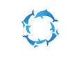 Blue and white dolphins illustration