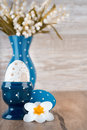 Blue-white Easter decorations, space Royalty Free Stock Photos