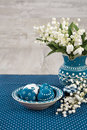 Blue-white Easter decorations, space Stock Photo