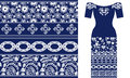 Blue and white floral pattern with Damask elements and roses.