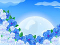 Blue White Flower In front of thee Moon In the Sky Stock Photography