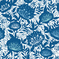 Blue and white garden plants silhouettes seamless vector pattern background on dark Royalty Free Stock Photo