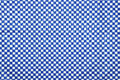 Blue and white gingham cloth background with fabric texture Stock Image