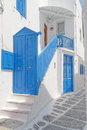 Blue white house entrance mikonos island greece Stock Photo