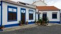 Blue and white houses in Vila Nova de Milfontes portugal Royalty Free Stock Photo