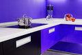 Blue white kitchen modern interior Royalty Free Stock Photo