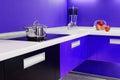 Blue white kitchen modern interior Royalty Free Stock Photo