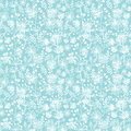 Blue and white lace garden plants seamless pattern vector background with hand drawn elements Royalty Free Stock Photo