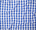 Blue and white linen tablecloth top view Stock Image