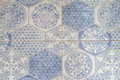 Blue and white Moroccan tiles style