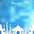 Blue white origami mosque ramadan kareem greeting card with arabic arabesque pattern holy month of muslim symbol of islam applique Stock Photos