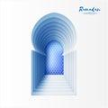 Blue White Origami Mosque Window Ramadan Kareem Greeting card