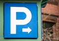 Blue and white parking sign Royalty Free Stock Photo
