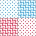 Blue white and pink background set houndstooth polka dots seamless pattern collection for desktop wallpaper or kid website Royalty Free Stock Photo