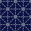 Blue and white quilted fabric geometric seamless pattern, vector