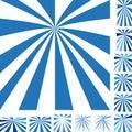 Blue white ray burst background set Royalty Free Stock Photo