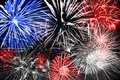 Blue white and red fireworks background