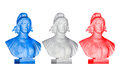 Blue white red Marianne statues Royalty Free Stock Photo