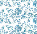 Blue and white seamless floral background vector texture with flowers Royalty Free Stock Photo