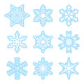 Blue and white snowflakes set vector eps Royalty Free Stock Photography