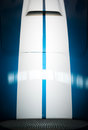 Blue and White Striped Hood of Classic Car Royalty Free Stock Photo
