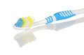 Blue and white toothbrush with reflection on background Stock Photo